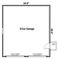 Our standard two stall garage floor plan.