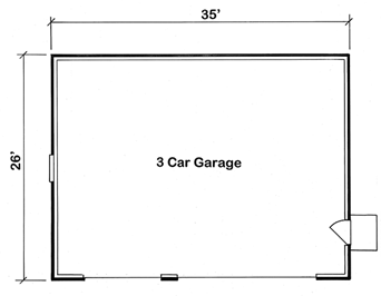 Our 3 stall garage with two doors.  A large door for two cars and a seperate door for your toys.
