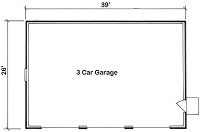 Our three stall garage plans. Three seperate garage doors for thee separate cars